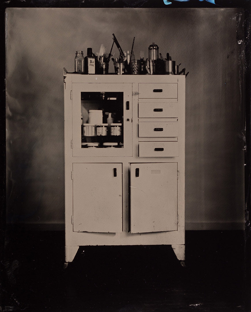 Vintage Metal Medical Cabinet For Sale. Tintype By Adirondack Wet Plate  Photographer Craig Murphy And