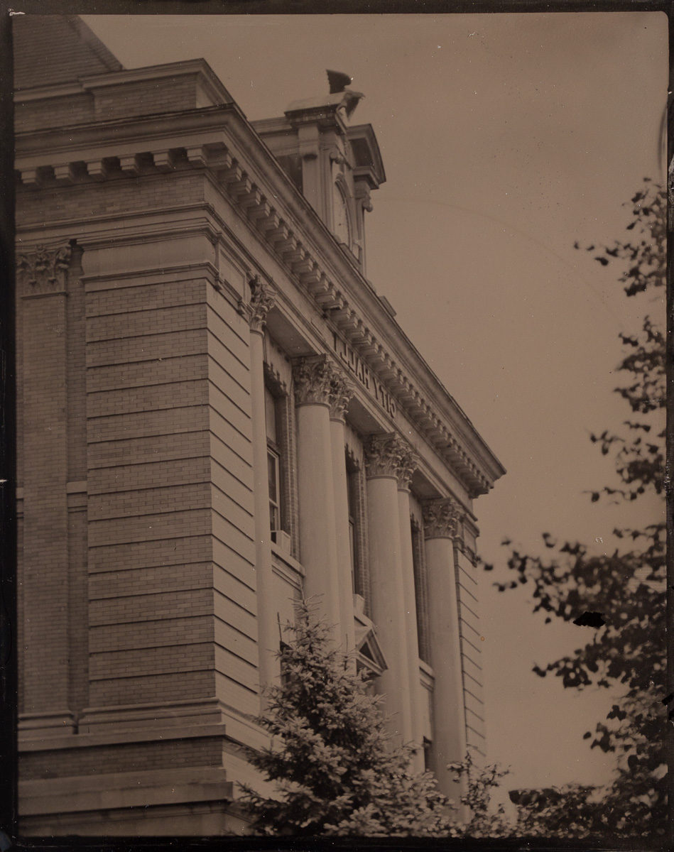 Fine art tintype of Glens Falls City Hall by Glens Falls Art! Watch free tintype collodion art demos live!